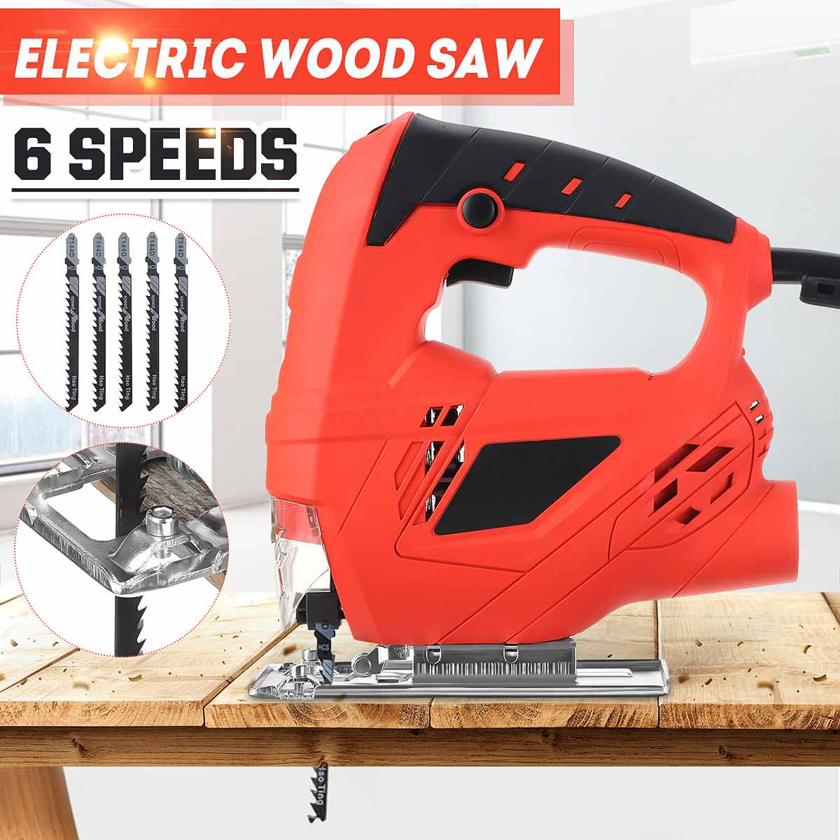 Doersupp 6 Variable Adjustable Speed Electric Wood Saw Woodworking Multi-angle 45 Degree Straight Curved Power Tools