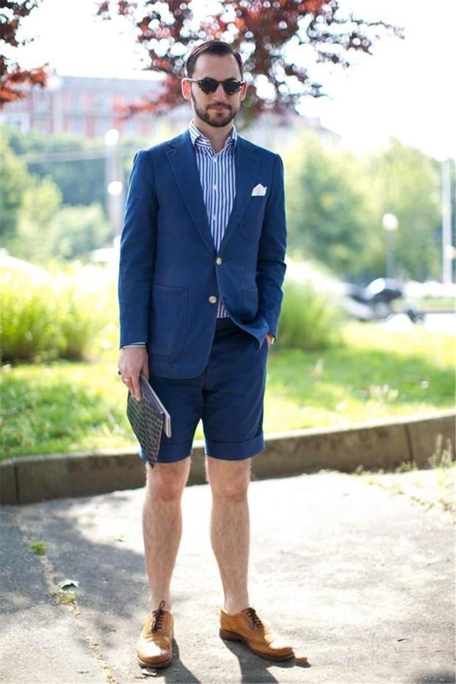 Blue Slim Fit Suit Separates For Men Custom Made Men's Causal Tailcoat Simple Modern Wedding Tuxedos (Jacket+Shorts)
