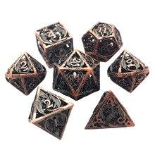 Hot Sale DND Dice Set Metal Hollow Dados Rol Polyhedral RPG Dice Playing Dobbelstenen Dobbel Game Dobbelspel kostki D20 Dice