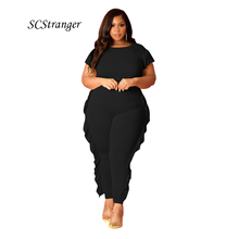 Fashion Sexy Two Piece Set Women Casual Solid Color Black Short Sleeve Tops Sports And Leisure Trousers With Spliced Wood Ears