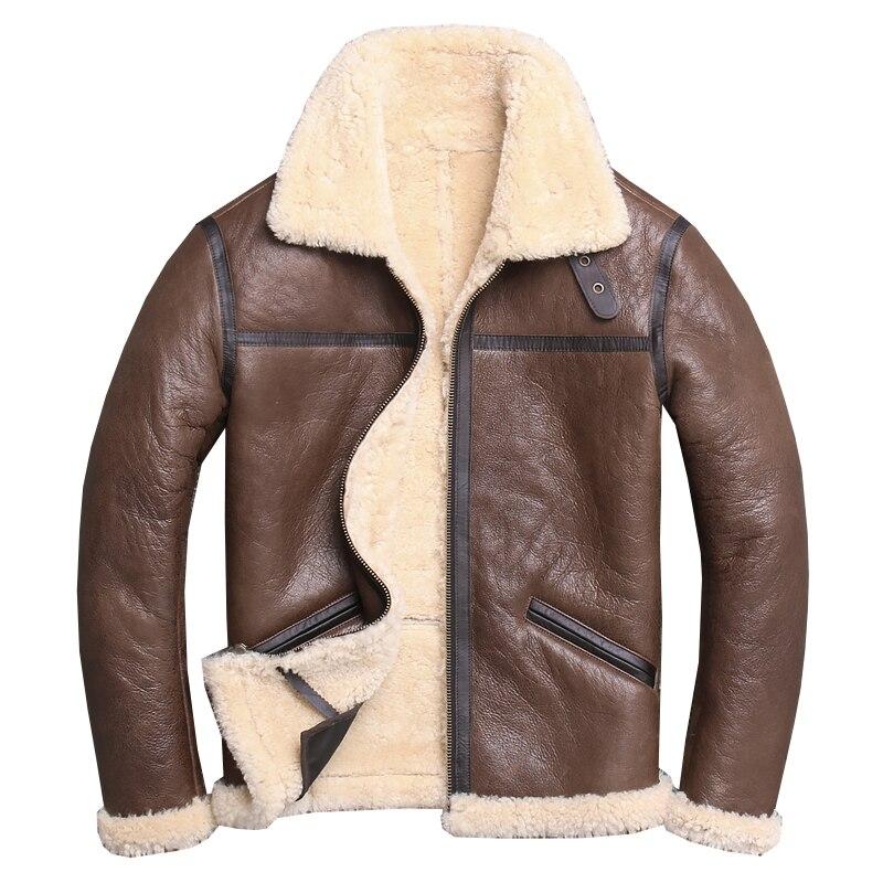 2020 Brown Men Smart Casual Large Size XXXXL Genuine Sheepskin Winter Warm Fashion Natural Shearling Coat