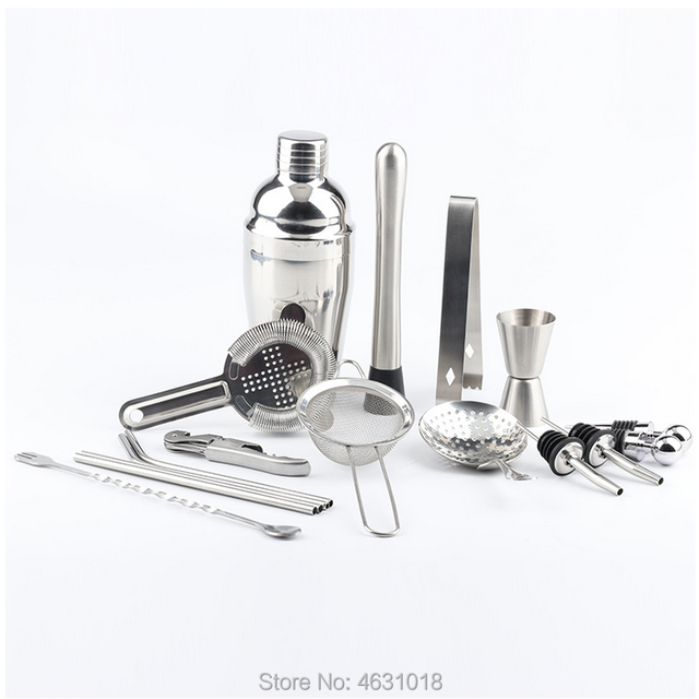 Cocktail Making Set 18Pcs Professional Cocktail Shakers Party Bar Bartender Essential Accessory Stainless Steel Kit Tool with Wooden Display Stand and Cocktail Book