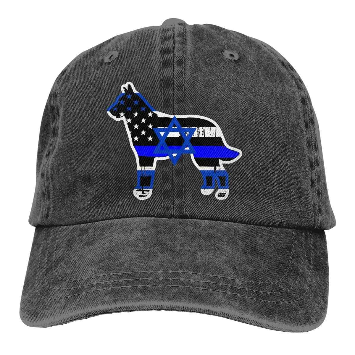 TSDFCIsrael דגל דק כחול קו משטרת גברים & נשים מתכוונן בייסבול כובעי חוט צבוע ג 'ינס היפ הופ