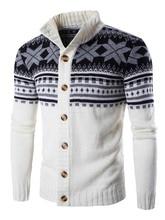 Casual Men's Sweater Winter Cardigan Snowflake Pri