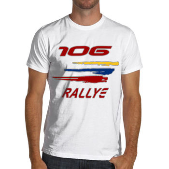 Summer Style Men Tee Shirt france car 106 Rally Racings Soft Cotton T-Shirt Rally WRC Gti image
