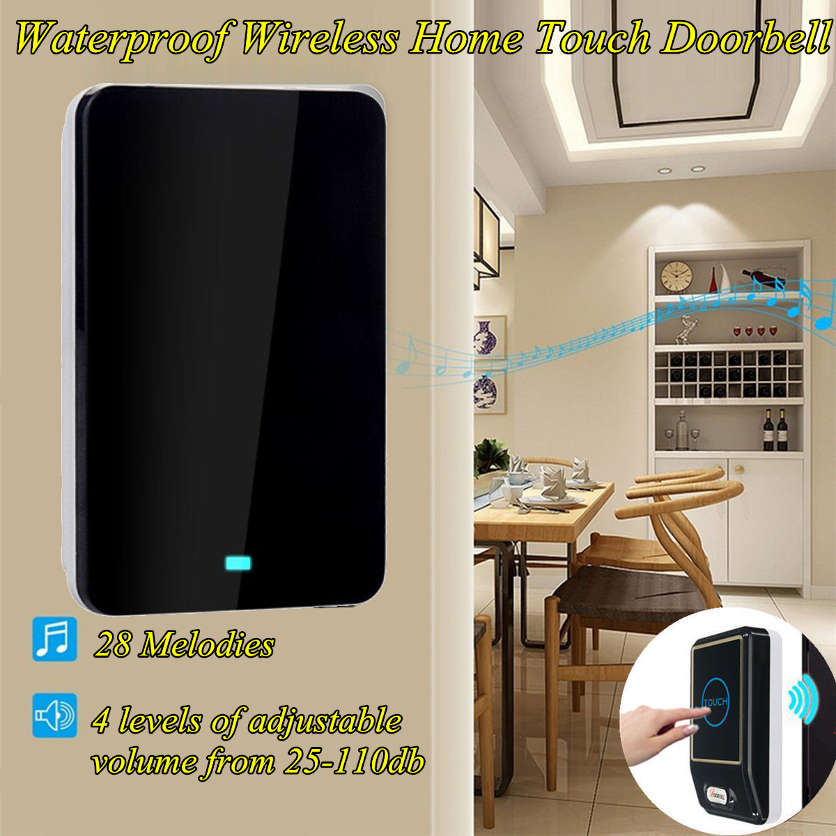 110DB Wireless Doorbell Waterproof 180M Remote AU UK US Plug Smart Door Bell Chime Gate Touch Sensor Entry 1 Battery 1 Receiver