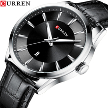 цена на CURREN Silver Black Quartz Watch Date Display Men Sport Watches Military Business Man Leather Wristwatch Clock Relogio Masculino