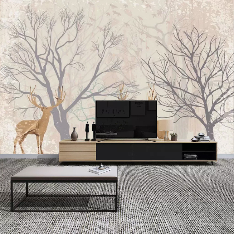 Nordic Minimalist Modern TV Backdrop Wallpaper Meaning Elk Living Room Bedroom Mural TV Wall Non-woven Wallpaper