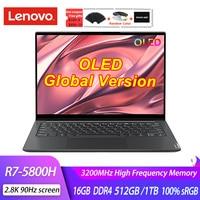 Lenovo-laptop 14s, tela oled, 2021 h, 16gb, ram 5800, 1tb, ssd, notebook 512 k, 90hz, computador de escritório, novo, 2.8