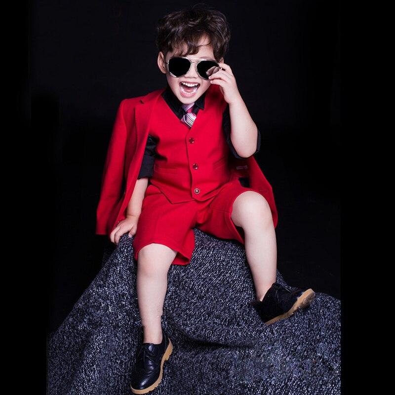 Costumes pour enfants Tuxedos formels pour garçons vêtements pour la fête de mariage robe garçon ensemble rouge noir (veste + pantalon + chemise + gilet + cravate) vêtements