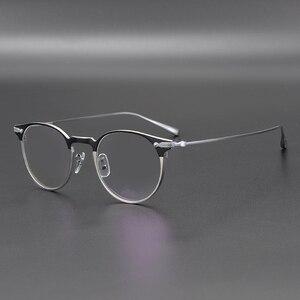 Image 5 - Marco de gafas de titanio para hombre, Marco Retro, gafas graduadas para miopía, monturas redondas