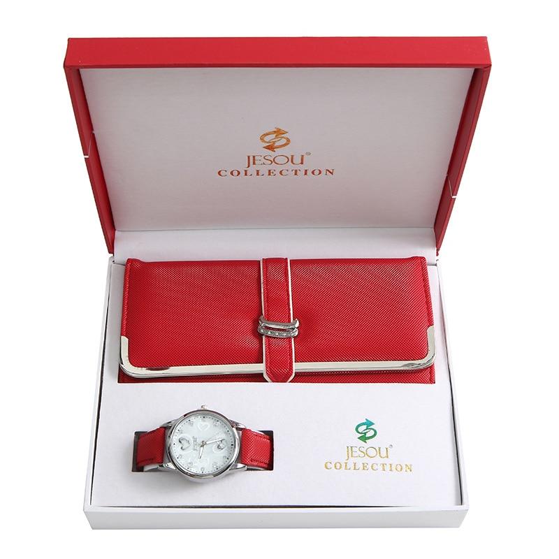 Women's Quartz Red Watch Wallet 2pcs Set Gift Box Christmas New Year Gift Simple Women's Watches Fashion Clock Ladies Gift Set