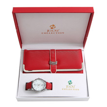 Women's Quartz Red Watch Wallet 2pcs set Gift Box Christmas