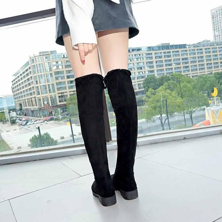 ต้นขาสูงรองเท้าหญิงฤดูหนาวรองเท้าผู้หญิงกว่าเข่าบู๊ทส์แบนยืดเซ็กซี่แฟชั่นรองเท้า 2019 สีดำยาว Botas ขนาด 35-41