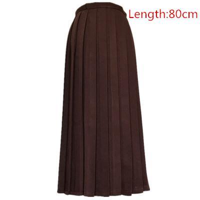 Японская школьная форма для девочек, регулируемая однотонная плиссированная юбка, 90 см, Jk, черный, темно-синий цвет, для старшеклассников, для студентов, в школьном стиле - Цвет: brown skirt 80cm