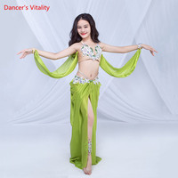 Children Girls Belly Dance 4 Colors Diamond Bra with Ribbon Skirt 2 Pieces Set Oriental Indian Dancing Race Performance Costume