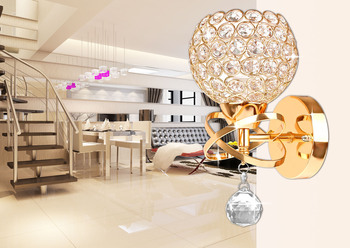 E14 Wall Lamp Indoor Lighting Wall Lamp Crystal Lights Decoration Bedside Wall Sconce For Modern Home Ligting Gold/Sliver free shipping outdoor brass wall lamp american design crystal wall sconce brass color wall lighting lamp wall brackets lights