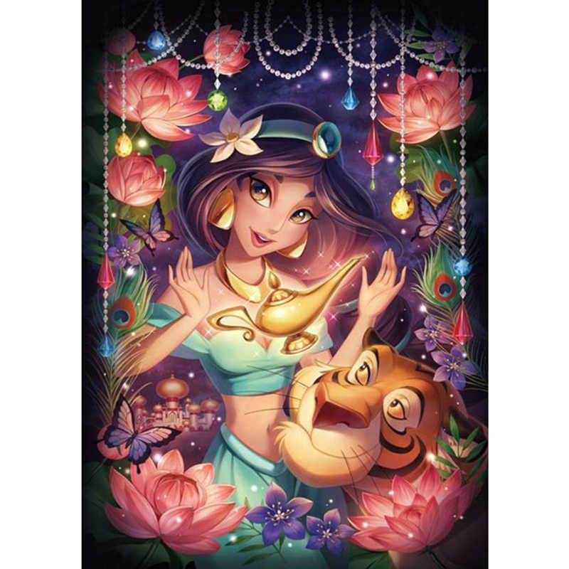 Aladdin anime jasmine DIY 5D diamentowe malowanie numerami zestawy w pełni z okrągłych wiertła haft ze strasem Cross Stitch prezenty