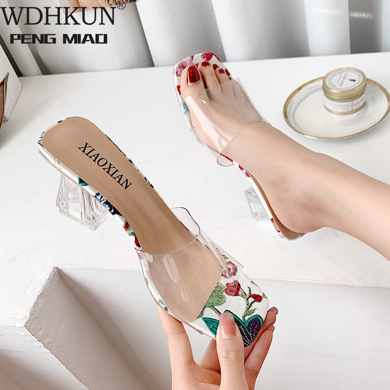 Clear Heels Slippers Women Sandals Summer Transparent Shoes Square High Pumps Jelly Buty Damskie Gladiator Square Heel Flower