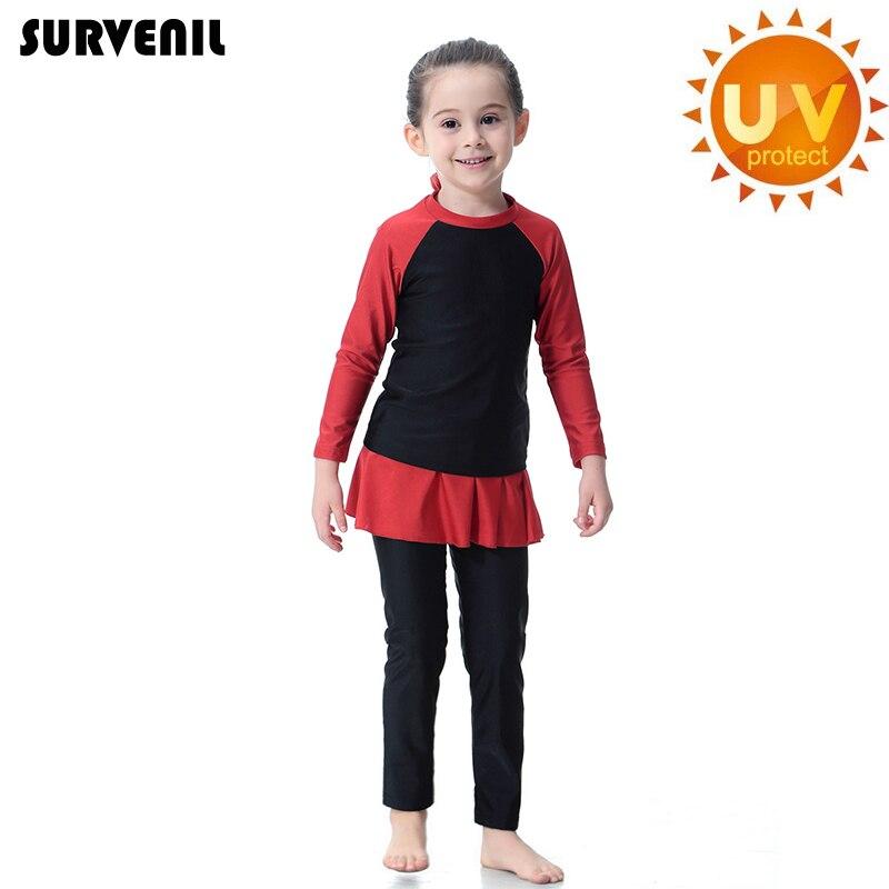 Islamic Girls Swimwear Full Cover Modest Muslim Children's Swimsuit For Baby Girl 2019 Long Sleeve Teenage Girl's Bathing Suit