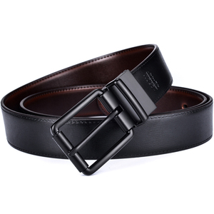 Image 3 - Couro masculino reversível cinto casual jean roller buckle 34mm um reverso para 2 cores