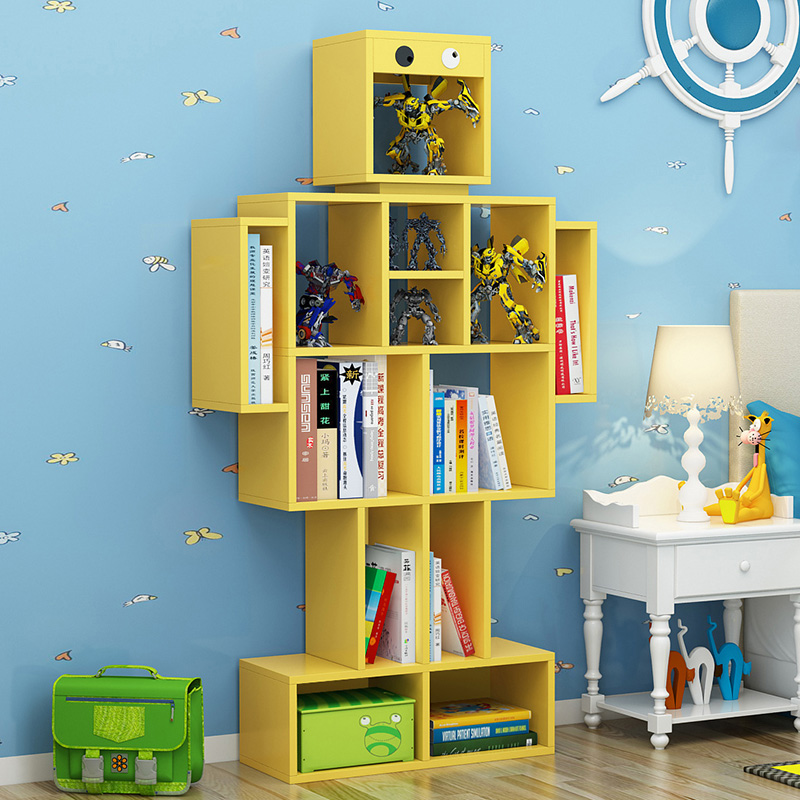 Children's Bookshelf Creative Robot Landing Small Bookcase Solid Wood Multi-layer Storage Home Simple Shelf