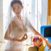 2019 new real photos elegant shiny crystal bridal veil hard Tulle with bead edge short veils Wedding dress accessories with comb