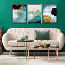 Drop Shipping Poster 3 Panel Canvas Art Print Abstract Golden Leaf Birds Deer Green Blue Black Watercolor Painting Picture Decor printed abstract graphics psychedelic nebula space painting canvas print decor print poster picture canvas free shipping ny 5746
