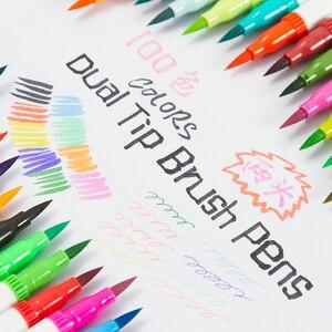 Image 4 - 72 farben Dual Tip Pinsel Marker Stifte Pastell Aquarell Stift Feine liner Kunst Liefert für Zeichnung Färbung Bücher Schreibwaren