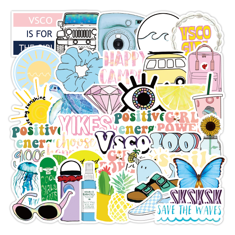 50Pcs VSCO Stickers Girl Thing Cool Waterproof Stickers For Laptop Skateboard Motorcycle Car Pack Decal Girls Stickers