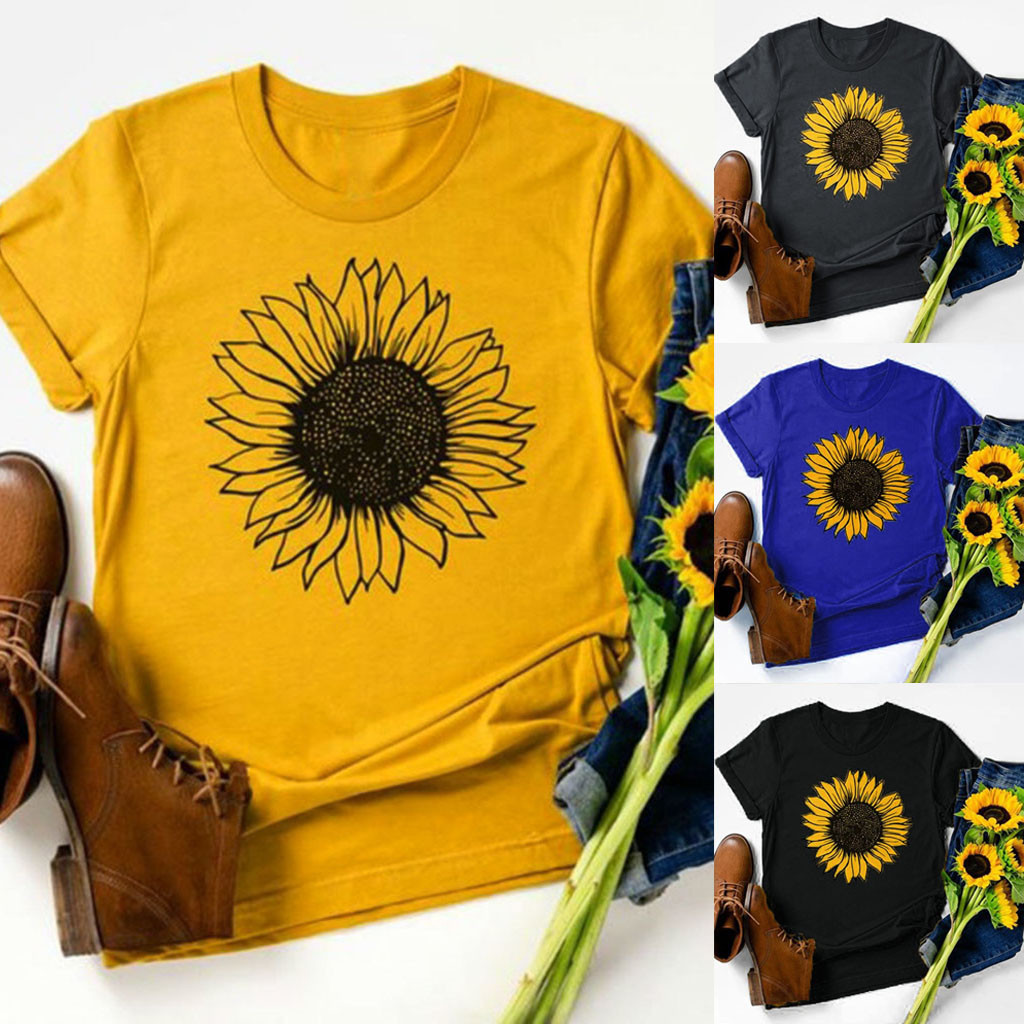 Fashion Sunflower Print T-Shirt 2020 Casual Summer tshirt Lady O-Neck Tunic Tops Female Women Short Sleeve Shirt Blusas Pullover
