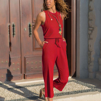 Summer Jumpsuit Women Sleeveless Round Neck Rompers Overalls Straight Ankle-length Pants Casual Loose Pocket Bandage Playsuits casual sleeveless round neck detachable women s jumpsuit