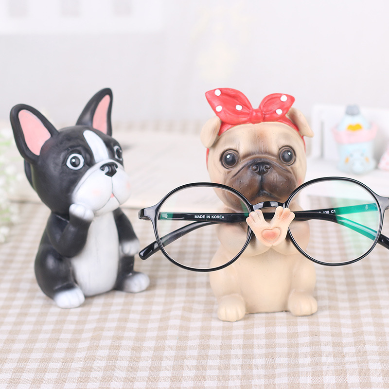 Wholesale Creative Animal Dog Glasses Frame Resin Material Office Home Desktop Eye Seat Decoration Corgi Pug Cute Puppy Frame