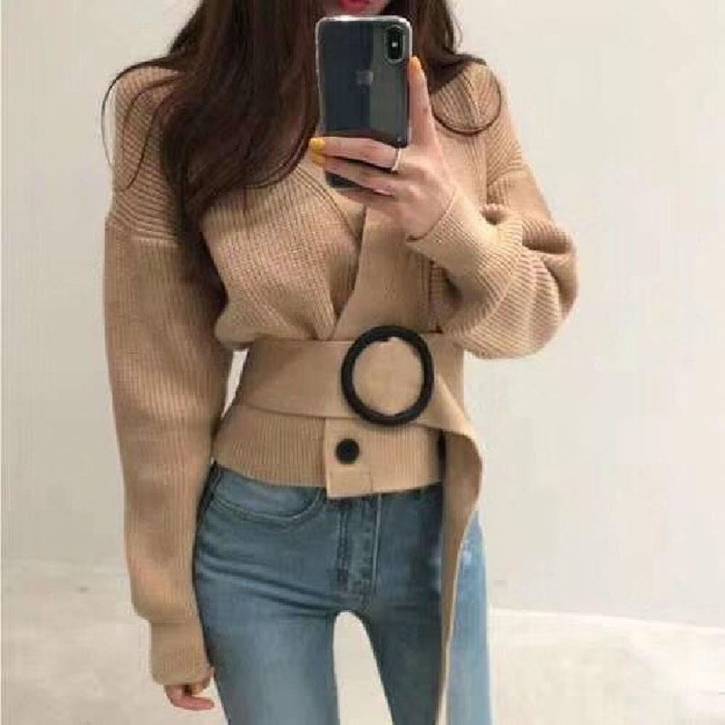 Knitting New Autumn And Winter Women's Sweater 2019 Retro Double-breasted Cardigan Fashion V-neck Belt Short Section Tops Female