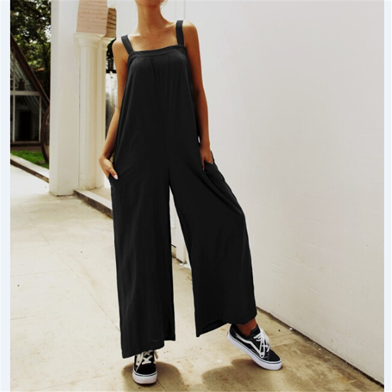 Summer Women Strappy Solid Comfy Wide Leg Jumpsuits Women's Casual Loose Dungarees Bib Overalls Cotton Rompers
