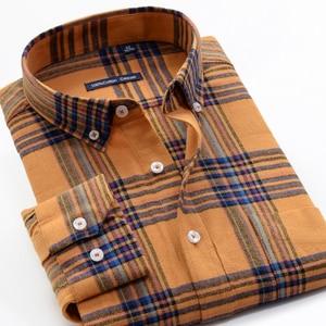 Image 3 - גברים של חולצה משובצת מזדמן 100% כותנה עסקי אופנה רופף ארוך שרוול חולצות זכר מותג בגדים בתוספת Zise 6XL 7XL 8XL 9XL 10XL
