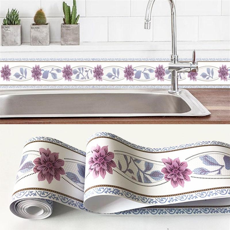 Self-Adhesive Wallpaper Borders 3D Flowers Geometric Decal PVC Waterproof Wall Stickers Living Room Kitchen Bathroom Home Decor