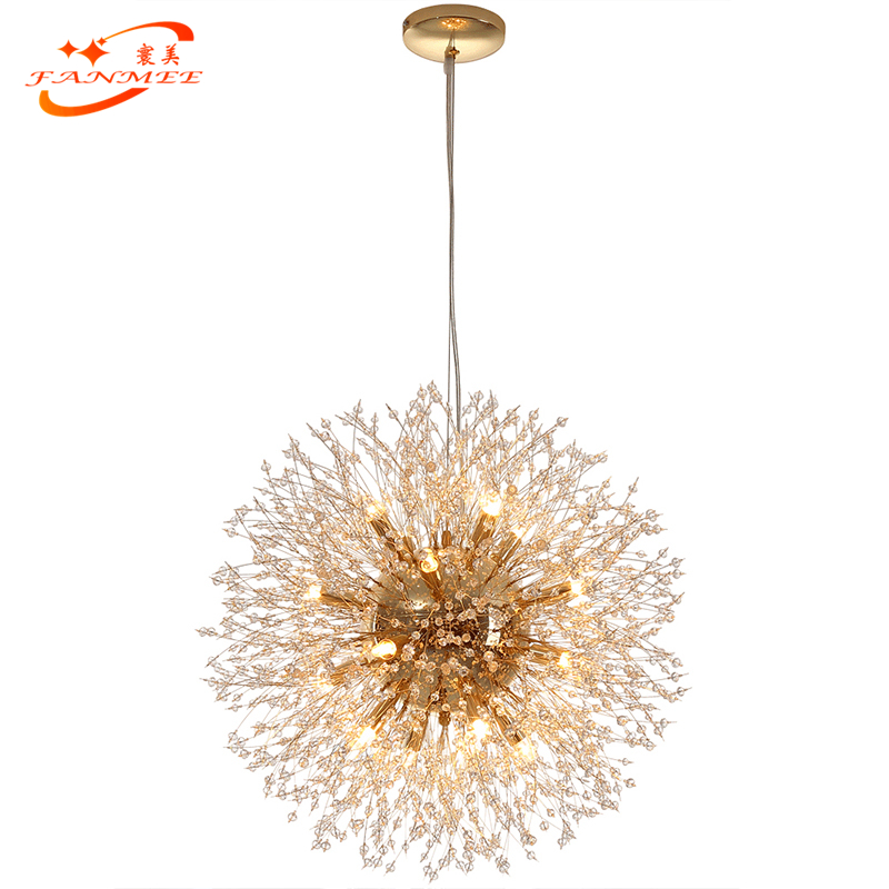 H4c254eadf01a4143994907fdde6a7c01D Modern LED Crystal Chandelier Light Pendant Hanging Lamp Dandelion Cristal Chandelier Lighting for Living Dining Room Decoration