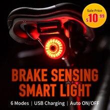 Leadbike bicicleta luz traseira inteligente freio automático sensing luz da cauda led de carregamento à prova dwaterproof água ipx6 ciclismo lanterna traseira