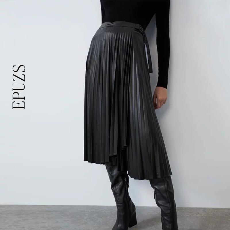 Saias de couro do plutônio do vintage das mulheres de cintura alta saia plissada 2019 inverno arco chique preto saia longa femme streetwear das mulheres saia