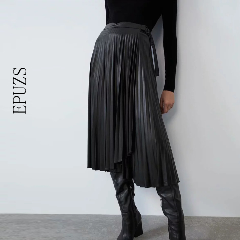 Vintage PU Leather Skirts Womens High Waist Pleated Skirt 2019 Winter Bow Chic Black Long Skirt Femme Streetwear Womens Skirt