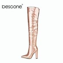 Bescone женские сексуальные длинные сапоги из лакированной кожи