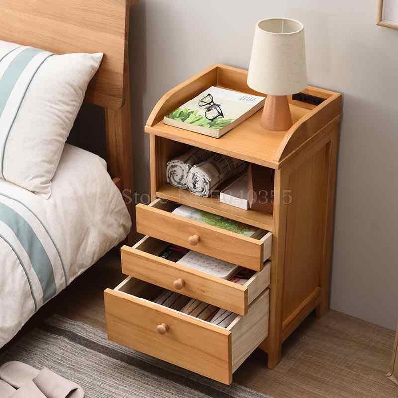 simple modern bedside table bedroom solid wood multifunctional bedside locker small sofa side cabinet children s storage cabinet
