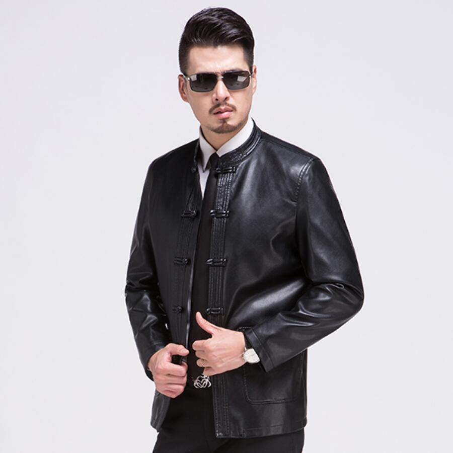 Luxurious Leather Jacket Men Design Stand Collar Male Casual Motorcycle Leather Jacket Mens Fashion Sheep Skin  Genuine Jackets