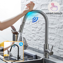 DQOK Kitchen Faucet Pull Out  Brushed Nickle Sensor Stainless Steel Black Smart Induction Mixed Tap Touch Control Sink Tap