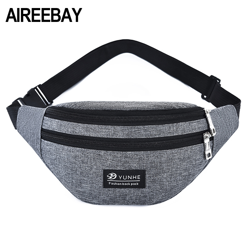 AIREEBAY Women Fanny Pack Fashion Men Waist Bag Black Pink Travel Bum Belt Bag Phone Multifunction Three Zipper Pouch Money Belt