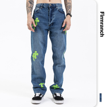Jeans Pants Firmranch Hearts Blue Green Trouse Moto Boot-Cut Loose New Crucifix for Men