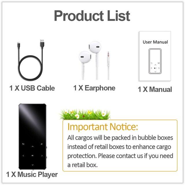 REDANT MP3 Player with Bluetooth Speaker Touch key Built-in 8GB 16GB HiFi Metal Mini Portable Walkman with radio FM recording 6