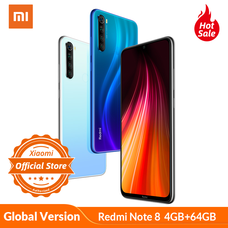 "Global Version Xiaomi Redmi Note 8 4GB 64GB Mobile Phone 4000mAh 6.3"" Display Smartphone Snapdragon 665 Octa Core 48MP Camera"