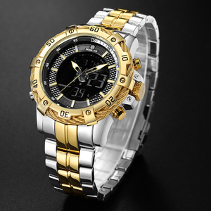Image 2 - GOLDENHOUR montre numérique analogique pour hommes, montre de luxe, de luxe, de Sport, étanche, deux tons en acier inoxydable